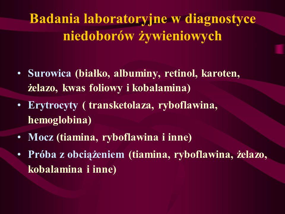 Badania laboratoryjne w diagnostyce niedoborów żywieniowych Surowica (białko, albuminy, retinol, karoten, żelazo, kwas foliowy i kobalamina) Erytrocyt