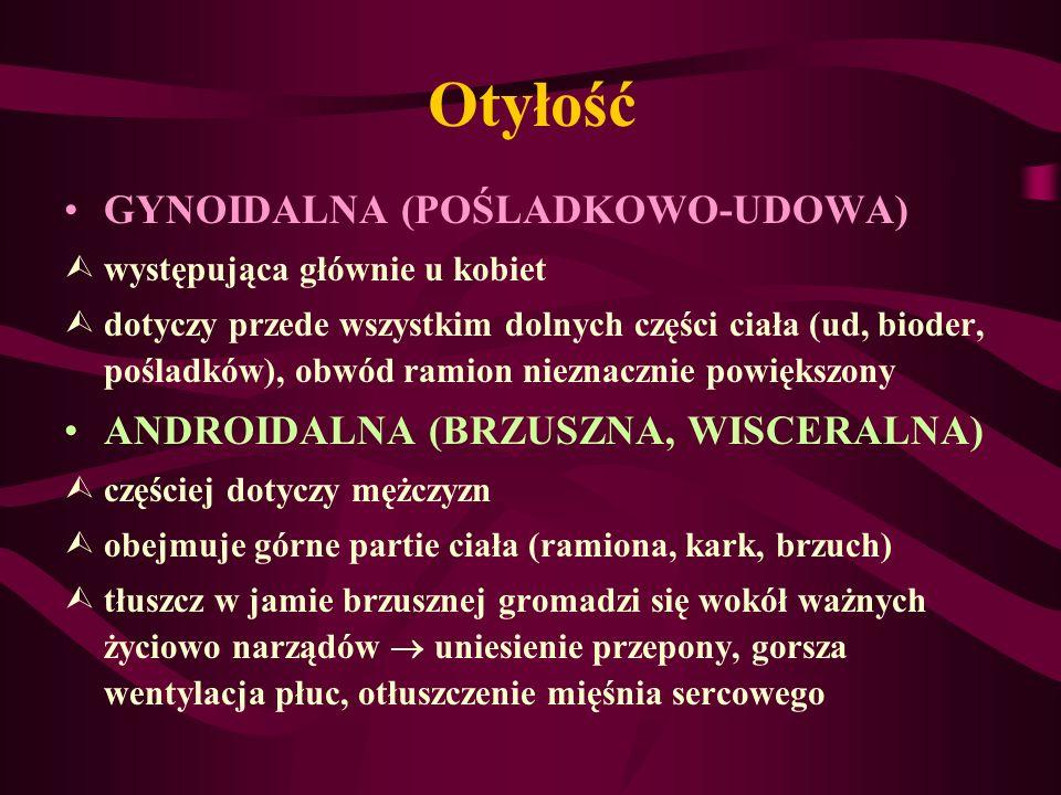 Otyłość GYNOIDALNA (POŚLADKOWO-UDOWA) Ùwystępująca głównie u kobiet Ùdotyczy przede wszystkim dolnych części ciała (ud, bioder, pośladków), obwód rami