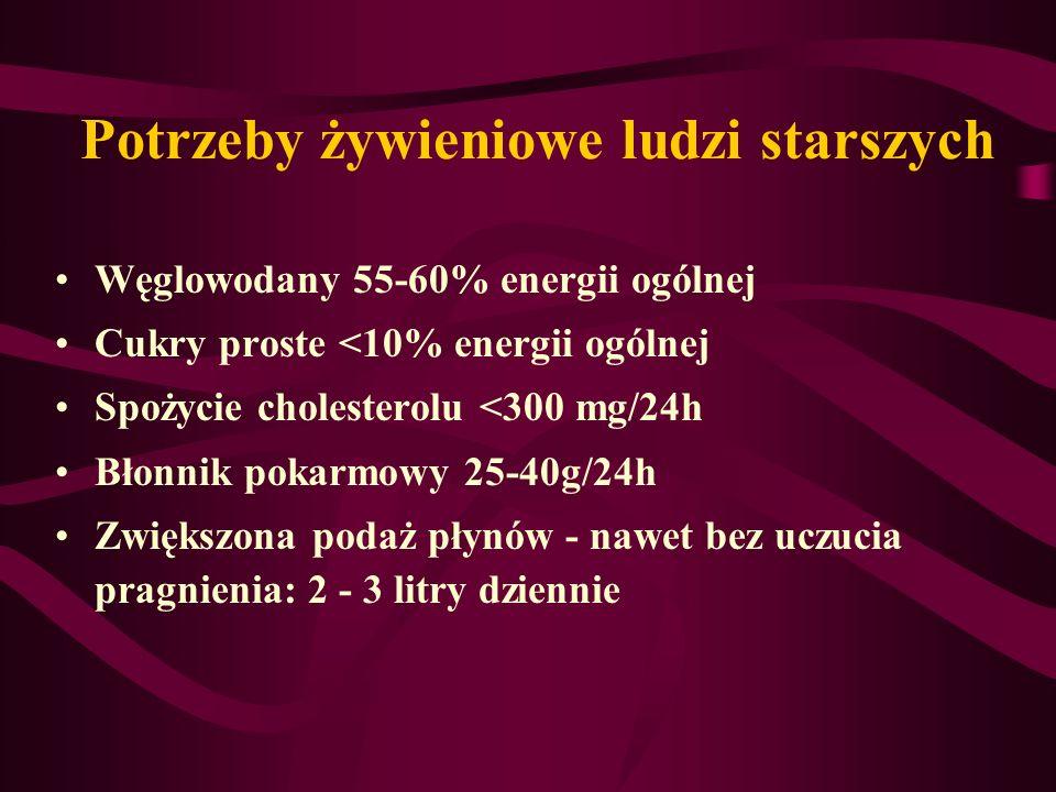 Potrzeby żywieniowe ludzi starszych Węglowodany 55-60% energii ogólnej Cukry proste <10% energii ogólnej Spożycie cholesterolu <300 mg/24h Błonnik pok