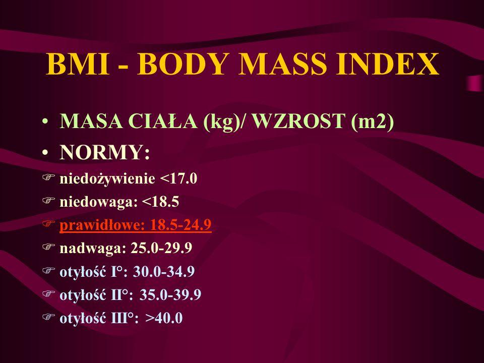 BMI - BODY MASS INDEX MASA CIAŁA (kg)/ WZROST (m2) NORMY: Fniedożywienie <17.0 Fniedowaga: <18.5 Fprawidłowe: 18.5-24.9 Fnadwaga: 25.0-29.9 Fotyłość I