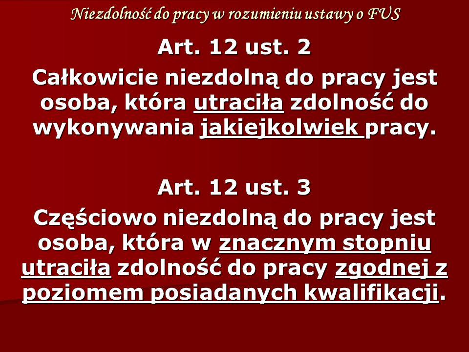 Niezdolność do pracy w rozumieniu ustawy o FUS Art.