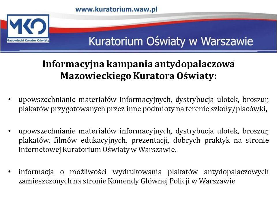 Informacyjna kampania antydopalaczowa Mazowieckiego Kuratora Oświaty: upowszechnianie materiałów informacyjnych, dystrybucja ulotek, broszur, plakatów