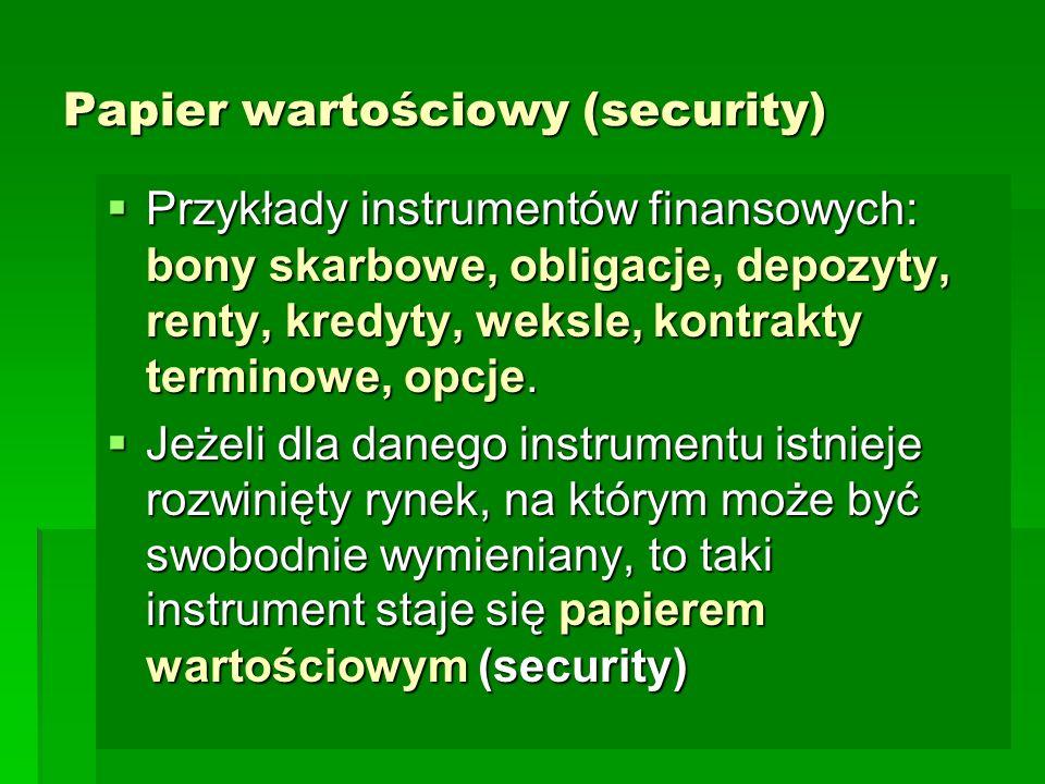 Papier wartościowy (security)  Przykłady instrumentów finansowych: bony skarbowe, obligacje, depozyty, renty, kredyty, weksle, kontrakty terminowe, opcje.