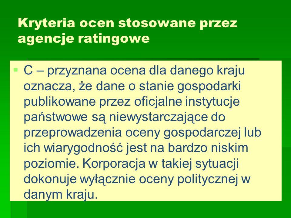Kryteria ocen stosowane przez agencje ratingowe   C – przyznana ocena dla danego kraju oznacza, że dane o stanie gospodarki publikowane przez oficja