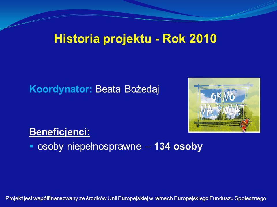Historia projektu - Rok 2010 Koordynator: Beata Bożedaj Beneficjenci:  osoby niepełnosprawne – 134 osoby Projekt jest współfinansowany ze środków Unii Europejskiej w ramach Europejskiego Funduszu Społecznego