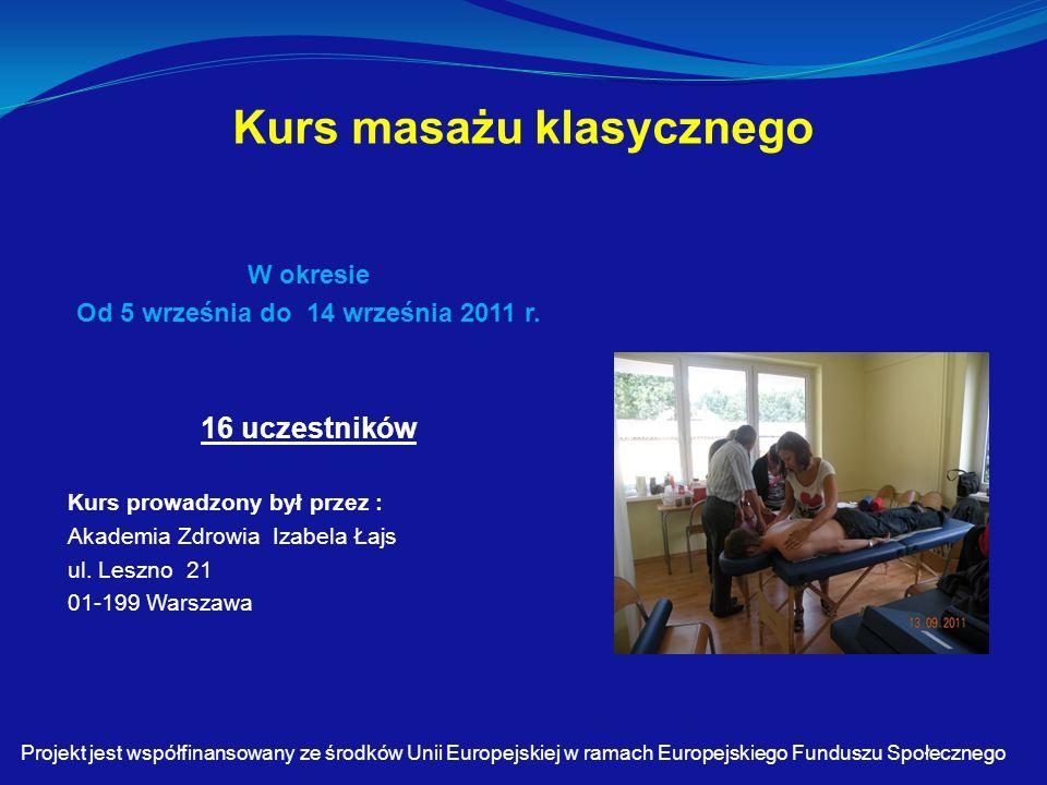 Kurs masażu klasycznego W okresie Od 5 września do 14 września 2011 r.
