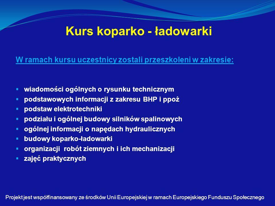 Kurs koparko - ładowarki W ramach kursu uczestnicy zostali przeszkoleni w zakresie:  wiadomości ogólnych o rysunku technicznym  podstawowych informacji z zakresu BHP i ppoż  podstaw elektrotechniki  podziału i ogólnej budowy silników spalinowych  ogólnej informacji o napędach hydraulicznych  budowy koparko-ładowarki  organizacji robót ziemnych i ich mechanizacji  zajęć praktycznych Projekt jest współfinansowany ze środków Unii Europejskiej w ramach Europejskiego Funduszu Społecznego