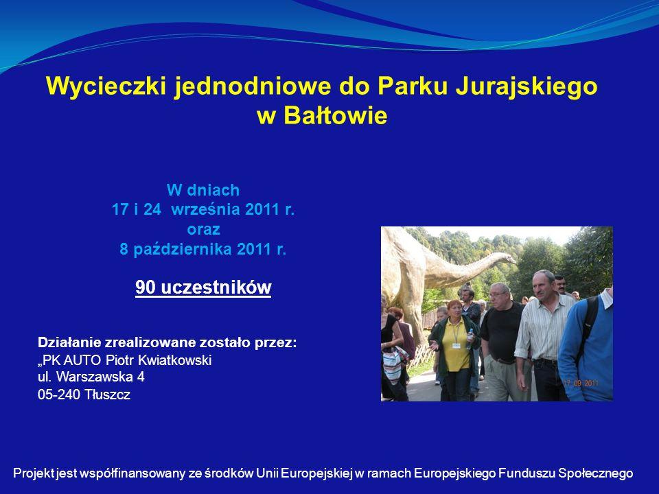 Wycieczki jednodniowe do Parku Jurajskiego w Bałtowie W dniach 17 i 24 września 2011 r.
