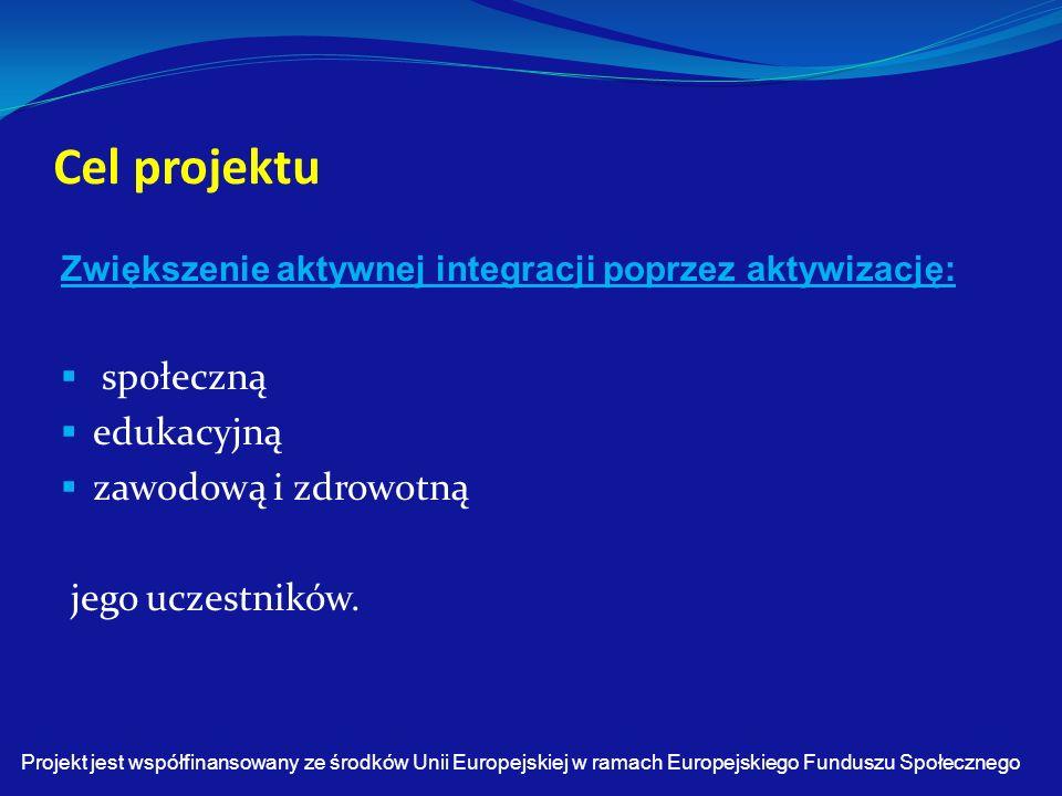 Cel projektu Zwiększenie aktywnej integracji poprzez aktywizację:  społeczną  edukacyjną  zawodową i zdrowotną jego uczestników.