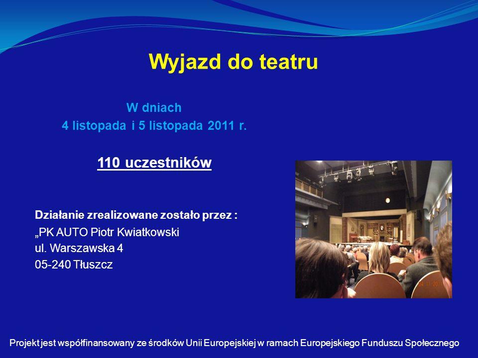Wyjazd do teatru W dniach 4 listopada i 5 listopada 2011 r.