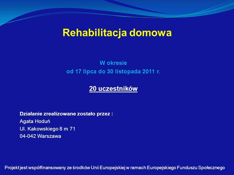 Rehabilitacja domowa W okresie od 17 lipca do 30 listopada 2011 r.