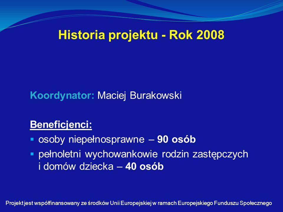 Historia projektu - Rok 2008 Koordynator: Maciej Burakowski Beneficjenci:  osoby niepełnosprawne – 90 osób  pełnoletni wychowankowie rodzin zastępczych i domów dziecka – 40 osób Projekt jest współfinansowany ze środków Unii Europejskiej w ramach Europejskiego Funduszu Społecznego