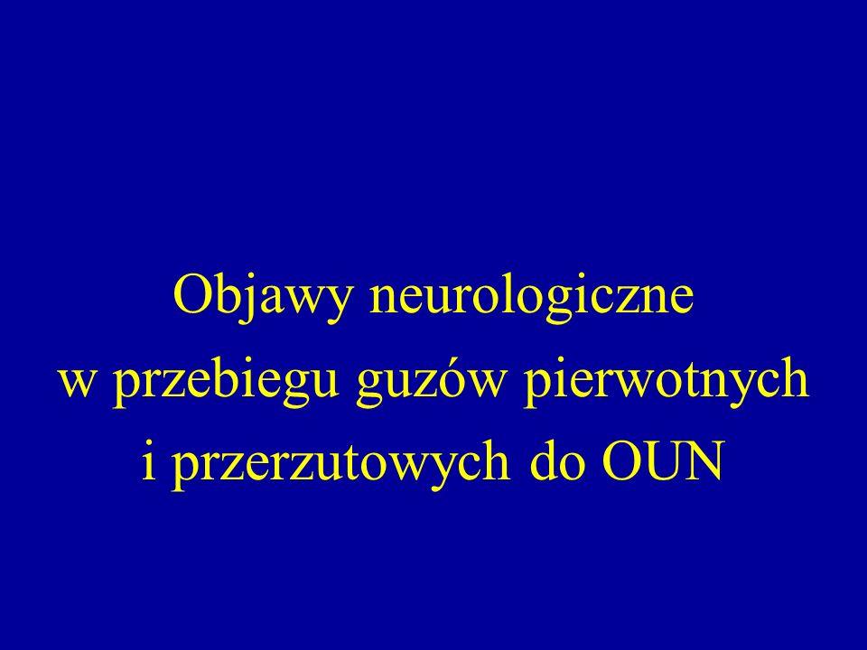 Objawy neurologiczne w przebiegu guzów pierwotnych i przerzutowych do OUN