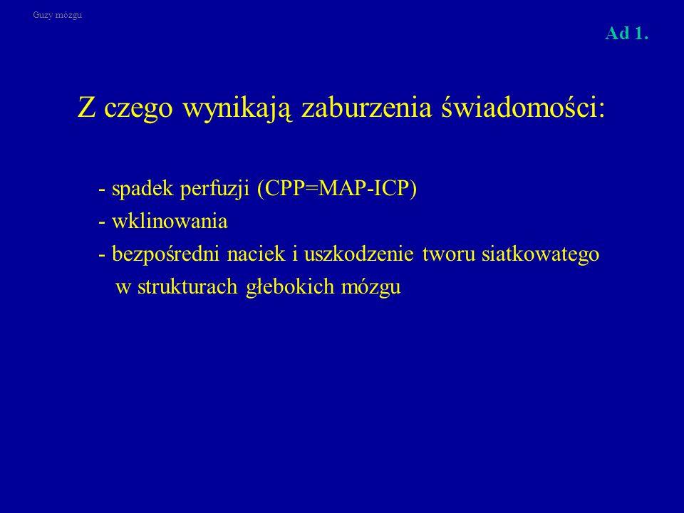 Z czego wynikają zaburzenia świadomości: - spadek perfuzji (CPP=MAP-ICP) - wklinowania - bezpośredni naciek i uszkodzenie tworu siatkowatego w struktu