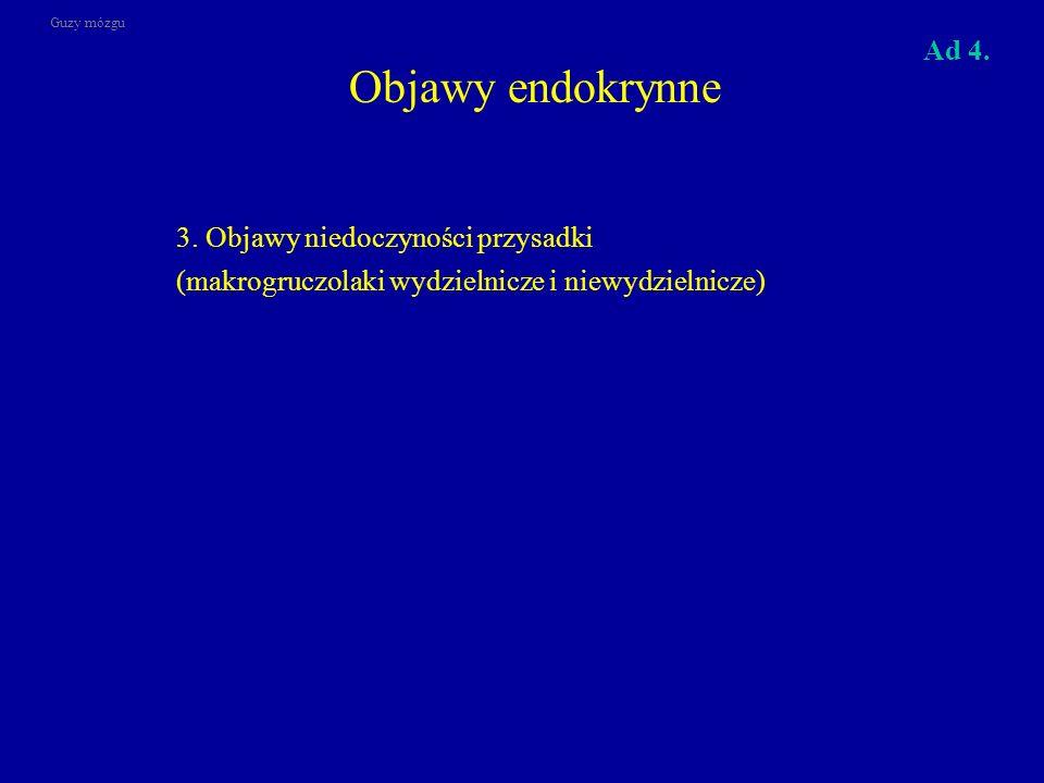 Objawy endokrynne 3. Objawy niedoczyności przysadki (makrogruczolaki wydzielnicze i niewydzielnicze) Guzy mózgu Ad 4.