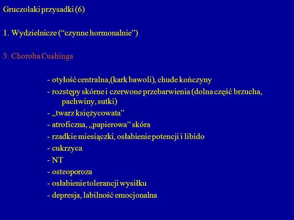 """Gruczolaki przysadki (6) 1. Wydzielnicze (""""czynne hormonalnie"""") 3. Choroba Cushinga - otyłość centralna,(kark bawoli), chude kończyny - rozstępy skórn"""