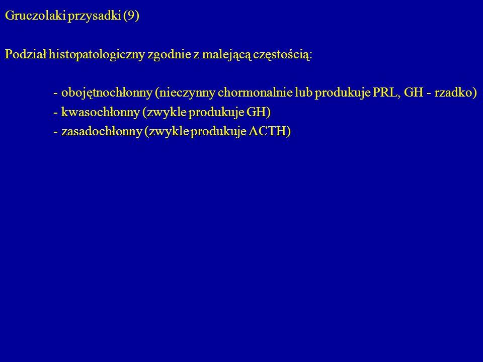 Gruczolaki przysadki (9) Podział histopatologiczny zgodnie z malejącą częstością: - obojętnochłonny (nieczynny chormonalnie lub produkuje PRL, GH - rz
