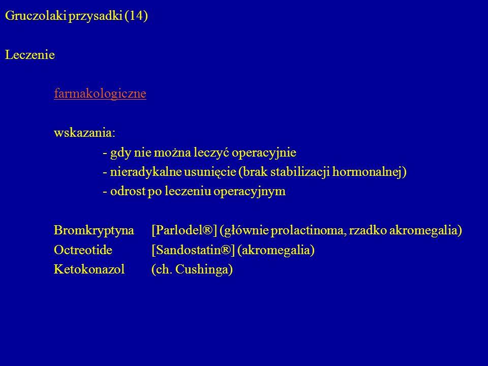 Gruczolaki przysadki (14) Leczenie farmakologiczne wskazania: - gdy nie można leczyć operacyjnie - nieradykalne usunięcie (brak stabilizacji hormonaln
