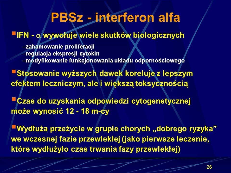 26 PBSz - interferon alfa  IFN -  wywołuje wiele skutków biologicznych –zahamowanie proliferacji –regulacja ekspresji cytokin –modyfikowanie funkcjo