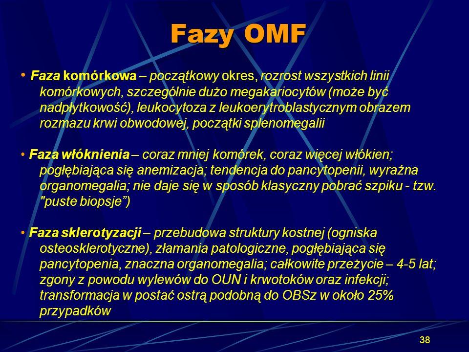 38 Fazy OMF Faza komórkowa – początkowy okres, rozrost wszystkich linii komórkowych, szczególnie dużo megakariocytów (może być nadpłytkowość), leukocy