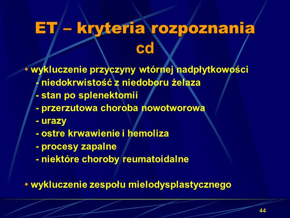 44 ET – kryteria rozpoznania cd wykluczenie przyczyny wtórnej nadpłytkowości - niedokrwistość z niedoboru żelaza - stan po splenektomii - przerzutowa