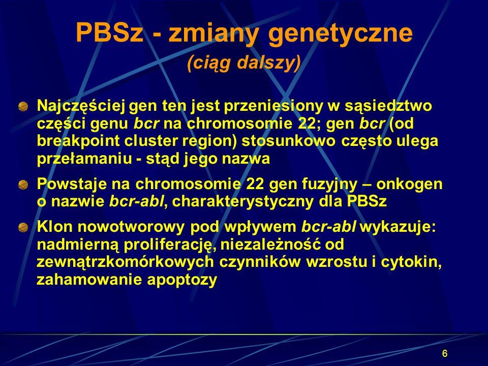 6 PBSz - zmiany genetyczne (ciąg dalszy) Najczęściej gen ten jest przeniesiony w sąsiedztwo części genu bcr na chromosomie 22; gen bcr (od breakpoint