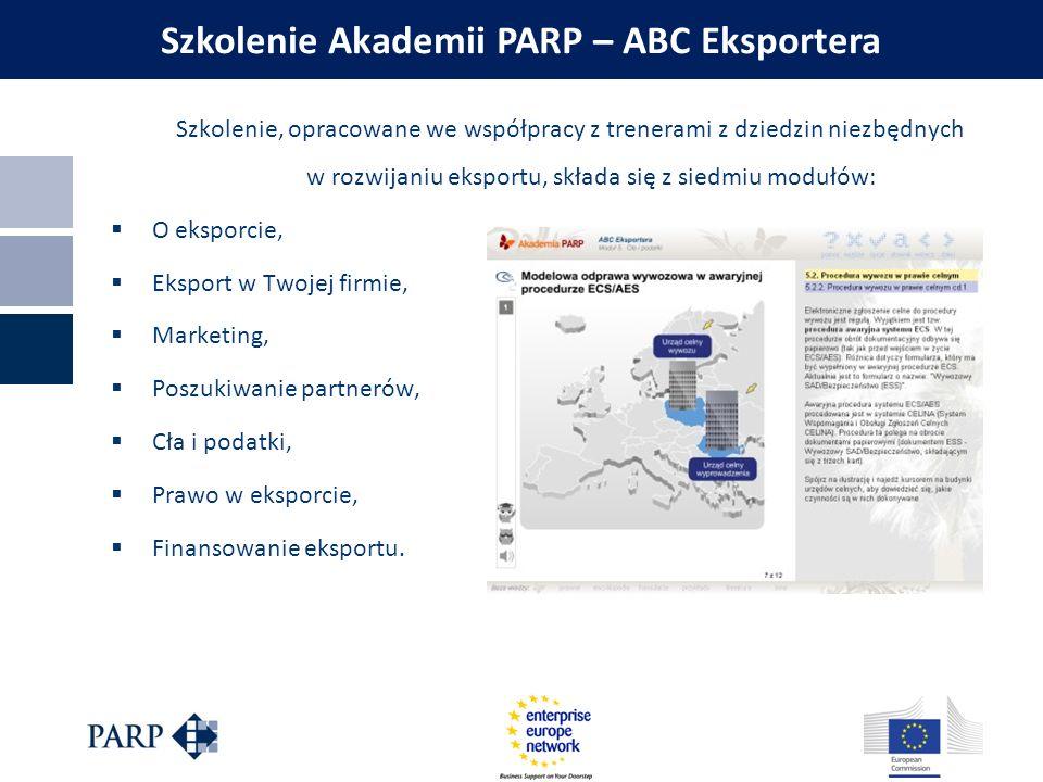 Szkolenie, opracowane we współpracy z trenerami z dziedzin niezbędnych w rozwijaniu eksportu, składa się z siedmiu modułów:  O eksporcie,  Eksport w
