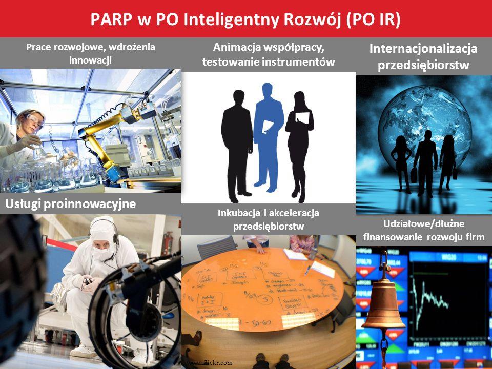 Prace rozwojowe, wdrożenia innowacji Udziałowe/dłużne finansowanie rozwoju firm Internacjonalizacja przedsiębiorstw Usługi proinnowacyjne Animacja wsp