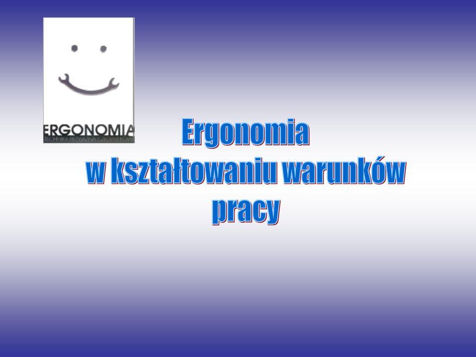 Ergonomia Ergonomia to dziedzina nauki i praktyki, której celem jest kształtowanie działalności człowieka odpowiednio do jego fizjologicznych i psychologicznych właściwości.