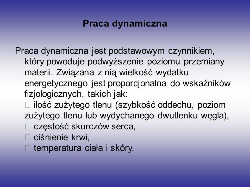 Praca dynamiczna Praca dynamiczna jest podstawowym czynnikiem, który powoduje podwyższenie poziomu przemiany materii. Związana z nią wielkość wydatku