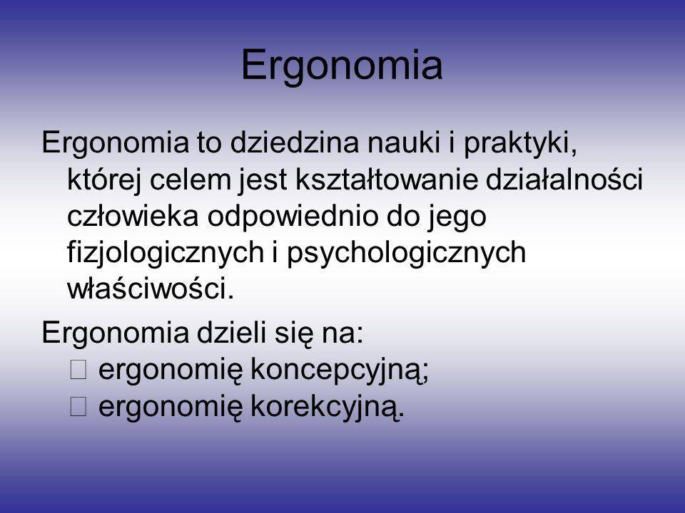Ergonomia Ergonomia to dziedzina nauki i praktyki, której celem jest kształtowanie działalności człowieka odpowiednio do jego fizjologicznych i psycho