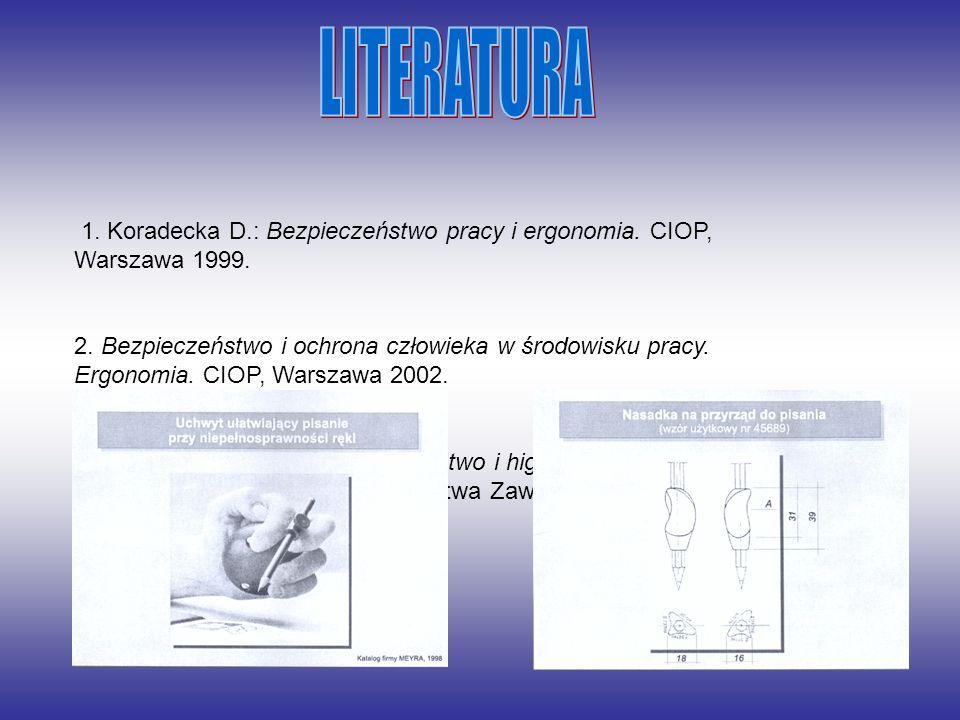 1. Koradecka D.: Bezpieczeństwo pracy i ergonomia. CIOP, Warszawa 1999. 2. Bezpieczeństwo i ochrona człowieka w środowisku pracy. Ergonomia. CIOP, War