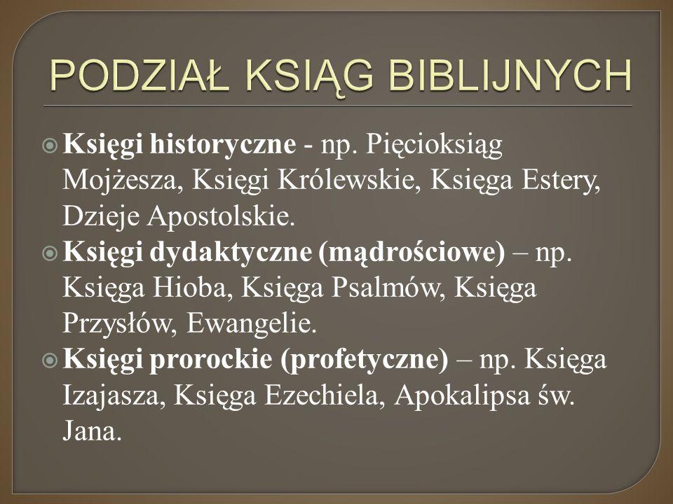  Księgi historyczne - np. Pięcioksiąg Mojżesza, Księgi Królewskie, Księga Estery, Dzieje Apostolskie.  Księgi dydaktyczne (mądrościowe) – np. Księga