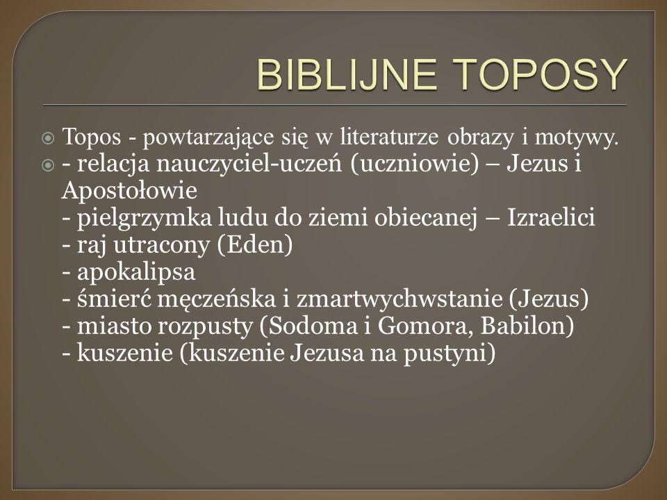  Topos - powtarzające się w literaturze obrazy i motywy.  - relacja nauczyciel-uczeń (uczniowie) – Jezus i Apostołowie - pielgrzymka ludu do ziemi o