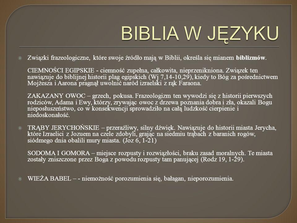  Związki frazeologiczne, które swoje źródło mają w Biblii, określa się mianem biblizmów. CIEMNOŚCI EGIPSKIE - ciemność zupełna, całkowita, nieprzenik