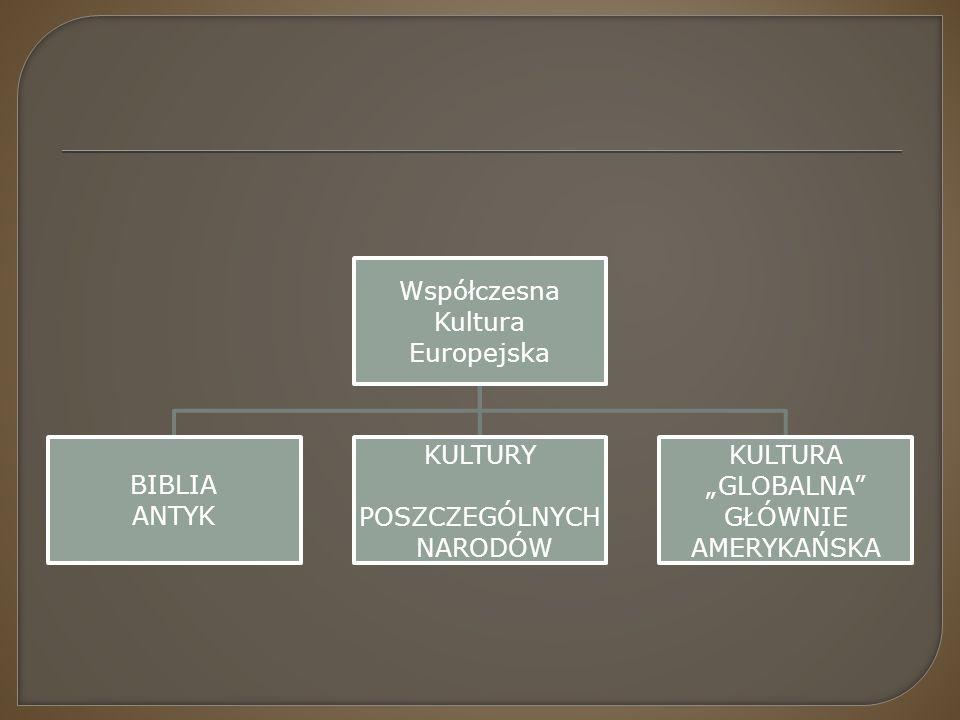 """Współczesna Kultura Europejska BIBLIA ANTYK KULTURY POSZCZEGÓLNYCH NARODÓW KULTURA """"GLOBALNA"""" GŁÓWNIE AMERYKAŃSKA"""