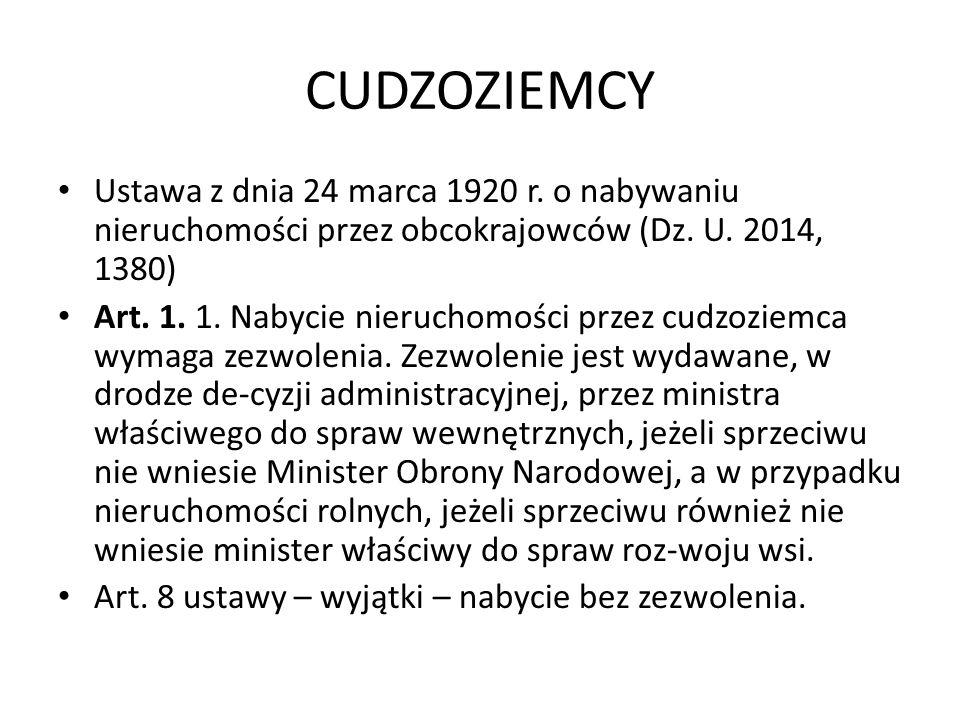 CUDZOZIEMCY Ustawa z dnia 24 marca 1920 r. o nabywaniu nieruchomości przez obcokrajowców (Dz.