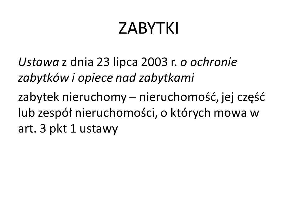 ZABYTKI Ustawa z dnia 23 lipca 2003 r.