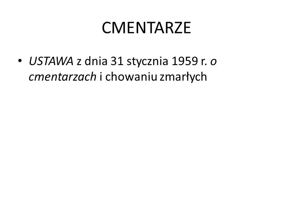 CMENTARZE USTAWA z dnia 31 stycznia 1959 r. o cmentarzach i chowaniu zmarłych