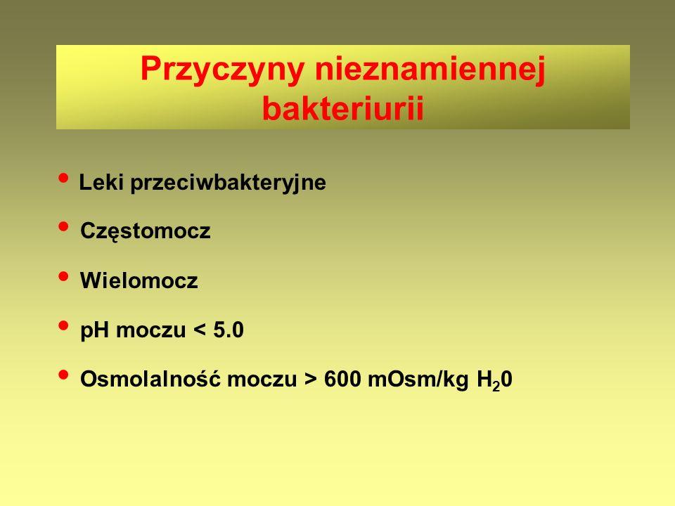 Przyczyny nieznamiennej bakteriurii Leki przeciwbakteryjne Częstomocz Wielomocz pH moczu < 5.0 Osmolalność moczu > 600 mOsm/kg H 2 0