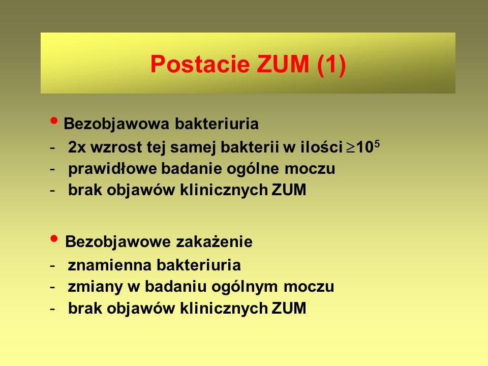 Postacie ZUM (1) Bezobjawowa bakteriuria -2x wzrost tej samej bakterii w ilości  10 5 -prawidłowe badanie ogólne moczu -brak objawów klinicznych ZUM