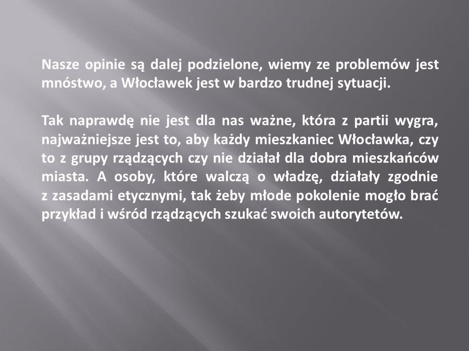 Nasze opinie są dalej podzielone, wiemy ze problemów jest mnóstwo, a Włocławek jest w bardzo trudnej sytuacji.