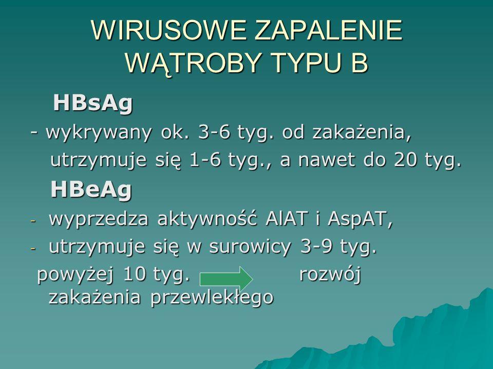 WIRUSOWE ZAPALENIE WĄTROBY TYPU B HBsAg HBsAg - wykrywany ok. 3-6 tyg. od zakażenia, utrzymuje się 1-6 tyg., a nawet do 20 tyg. utrzymuje się 1-6 tyg.