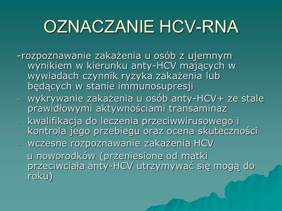 OZNACZANIE HCV-RNA -rozpoznawanie zakażenia u osób z ujemnym wynikiem w kierunku anty-HCV mających w wywiadach czynnik ryzyka zakażenia lub będących w