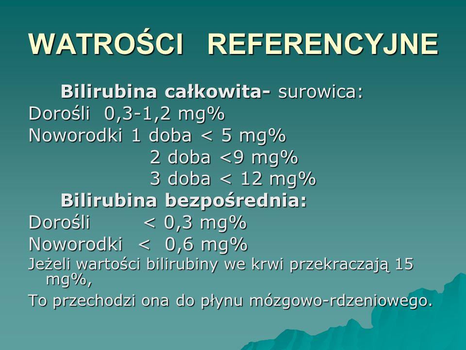 WATROŚCI REFERENCYJNE Bilirubina całkowita- surowica: Bilirubina całkowita- surowica: Dorośli 0,3-1,2 mg% Noworodki 1 doba < 5 mg% 2 doba <9 mg% 2 dob
