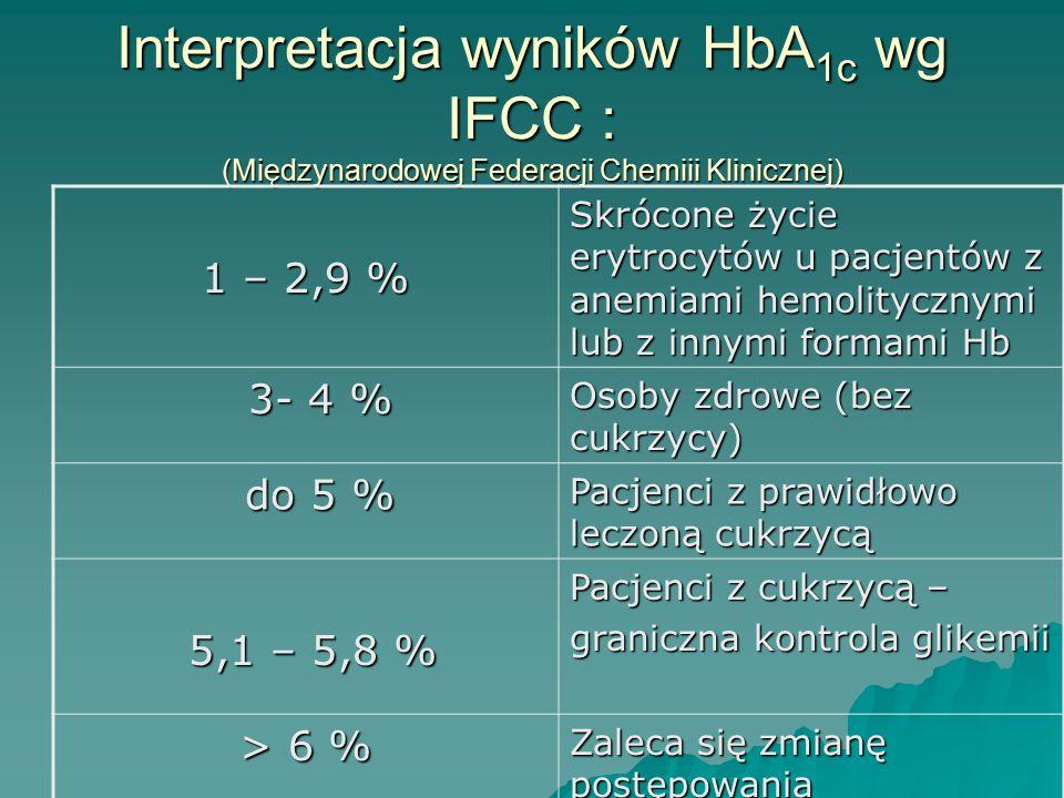 Interpretacja wyników HbA 1c wg IFCC : (Międzynarodowej Federacji Chemiii Klinicznej) 1 – 2,9 % Skrócone życie erytrocytów u pacjentów z anemiami hemo