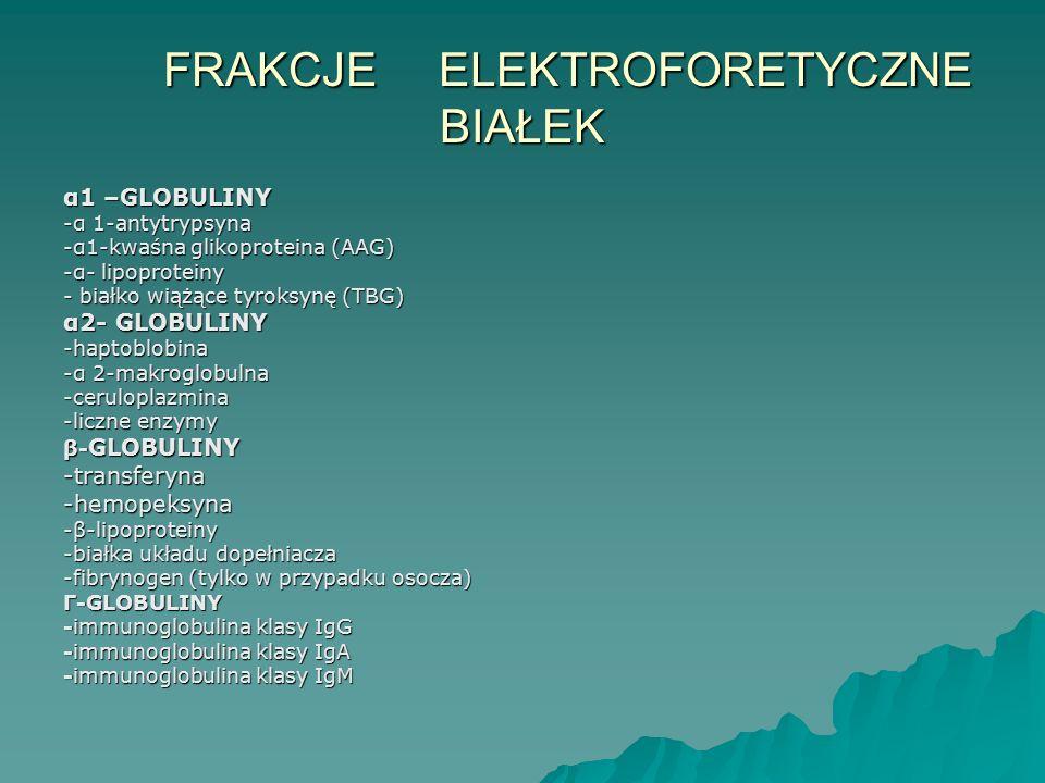FRAKCJE ELEKTROFORETYCZNE BIAŁEK FRAKCJE ELEKTROFORETYCZNE BIAŁEK α1 –GLOBULINY -α 1-antytrypsyna -α1-kwaśna glikoproteina (AAG) -α- lipoproteiny - bi