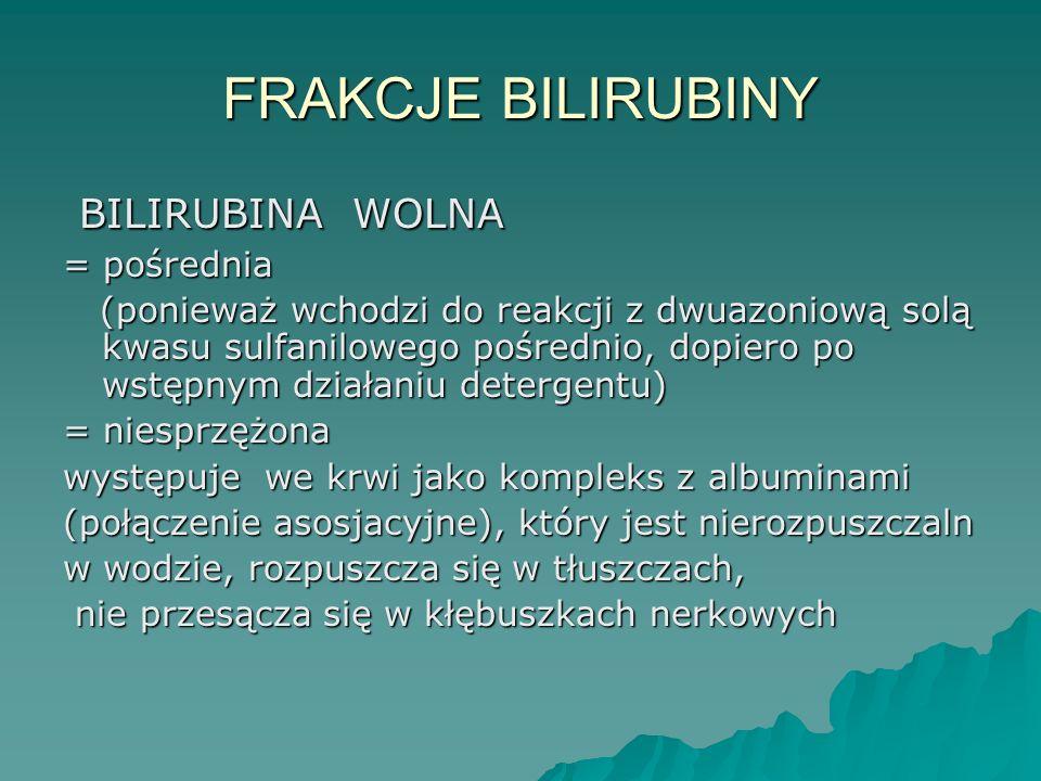 FRAKCJE BILIRUBINY BILIRUBINA WOLNA BILIRUBINA WOLNA = pośrednia (ponieważ wchodzi do reakcji z dwuazoniową solą kwasu sulfanilowego pośrednio, dopier