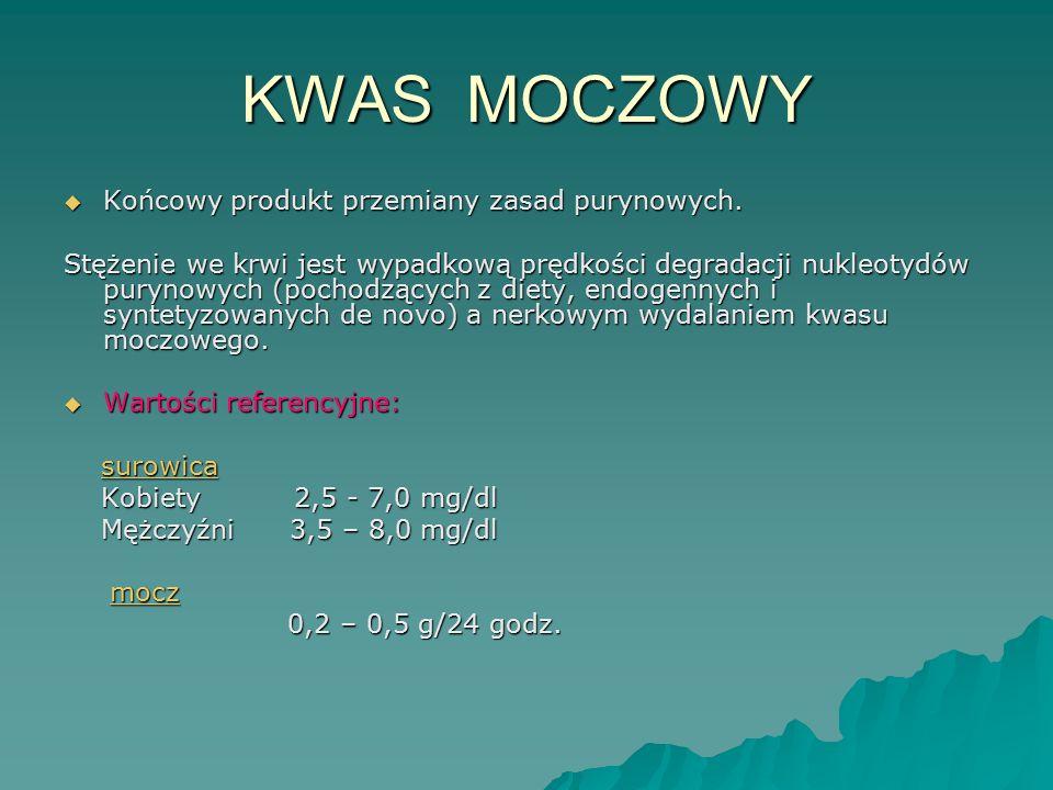 KWAS MOCZOWY  Końcowy produkt przemiany zasad purynowych. Stężenie we krwi jest wypadkową prędkości degradacji nukleotydów purynowych (pochodzących z