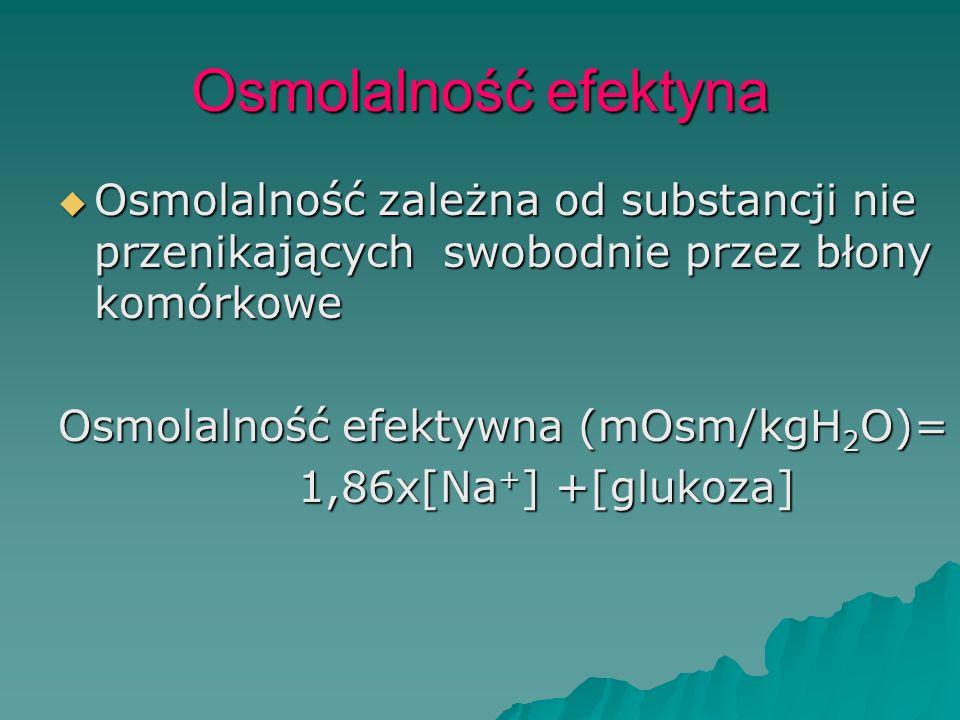Osmolalność efektyna  Osmolalność zależna od substancji nie przenikających swobodnie przez błony komórkowe Osmolalność efektywna (mOsm/kgH 2 O)= 1,86
